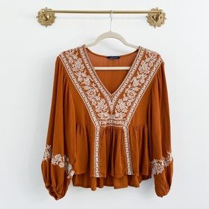 American Eagle Long Sleeve Embroidered Top